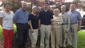Cathy Irwin, Chair of Scholarship Committee and Community Foundation Board Member; Anthony and Rosemary Madia, founders of scholarship award; 2013 beneficiary Andrew Perone; his grandmother Eleanor Spadaccini and father Anthony Perone; and Alan Haas, Board member and scholarship committee member.